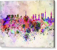 Tokyo Skyline In Watercolor Background Acrylic Print by Pablo Romero