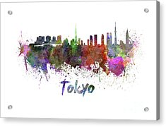 Tokyo Skyline In Watercolor Acrylic Print by Pablo Romero