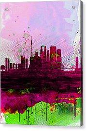 Tokyo Watercolor Skyline Acrylic Print by Naxart Studio