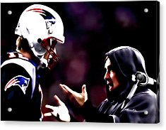 Tom Brady And Coach Acrylic Print by Brian Reaves