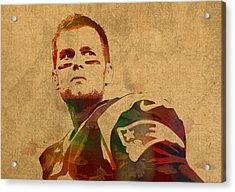 Tom Brady New England Patriots Quarterback Watercolor Portrait On Distressed Worn Canvas Acrylic Print by Design Turnpike