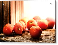 Tomatoes In An Old Barn Acrylic Print by Olivier Le Queinec