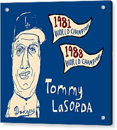 Tommy Lasorda Los Angeles Dodgers Acrylic Print by Jay Perkins