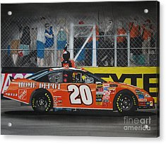 Tony Stewart Climbs For The Checkered Flag Acrylic Print by Paul Kuras
