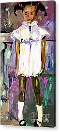 Tonya Was A Shy Girl Child Portrait Acrylic Print by Ginette Callaway