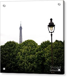 Top Of The Eiffel Tower And Street Lamp. Paris.france. Acrylic Print by Bernard Jaubert