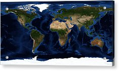 Topography Map Of The World Acrylic Print by Sebastian Musial