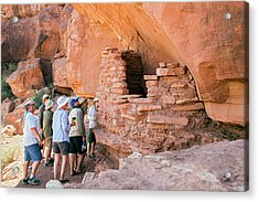 Tourists At An Anasazi Grain Store Acrylic Print by Jim West