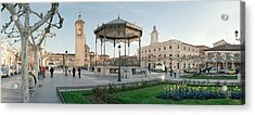 Tourists In Front Of Buildings, Plaza Acrylic Print by Panoramic Images