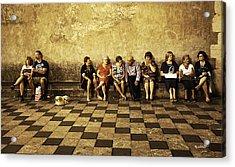 Tourists On Bench - Taormina - Sicily Acrylic Print by Madeline Ellis