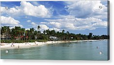 Tourists On The Beach, Naples, Gulf Acrylic Print by Panoramic Images