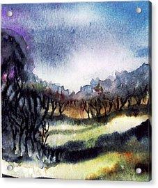 Towards The Misty Bogland  Acrylic Print by Trudi Doyle
