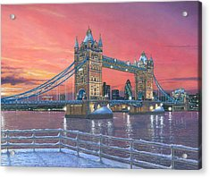 Tower Bridge After The Snow Acrylic Print by Richard Harpum