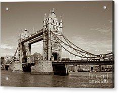 Tower Bridge - Sepia Acrylic Print by Heidi Hermes
