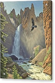 Tower Falls  Acrylic Print by Paul Krapf