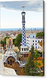 Towers Of Gaudi In Park Guell Acrylic Print by George Oze