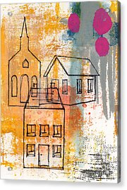 Town Square Acrylic Print by Linda Woods