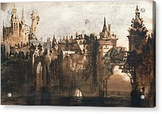 Town With A Broken Bridge Acrylic Print by Victor Hugo