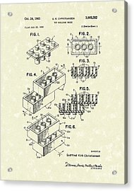 Toy Building Brick 1961 Patent Art Acrylic Print by Prior Art Design