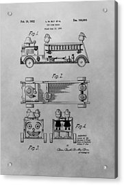 Toy Fire Engine Patent Drawing Acrylic Print by Dan Sproul