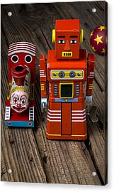 Toy Robot And Train Acrylic Print by Garry Gay