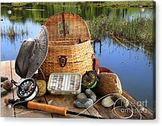 Traditional Fly-fishing Rod With Equipment  Acrylic Print by Sandra Cunningham