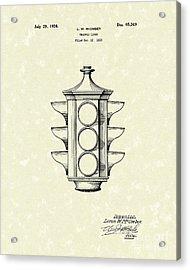 Traffic Light 1924 Patent Art Acrylic Print by Prior Art Design