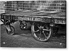 Train Depot Baggage Cart 2td1 In B/w Acrylic Print by Greg Jackson