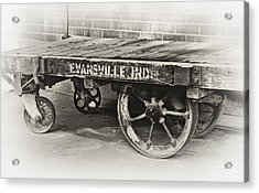 Train Depot Baggage Cart In High Key B/w Acrylic Print by Greg Jackson