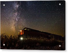 Train To The Cosmos Acrylic Print by Aaron J Groen