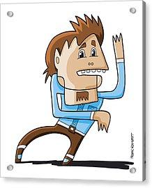 Trance Dance Man Doodle Character Acrylic Print by Frank Ramspott