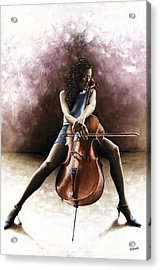 Tranquil Cellist Acrylic Print by Richard Young