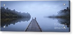 Tranquil Lake And Misty Dawn Panorama Acrylic Print by Colin and Linda McKie