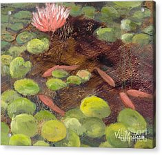 Tranquil Moments-rectangle With Gold Leaf By Vic Mastis Acrylic Print by Vic  Mastis