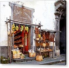 Tratorria In Italy Acrylic Print by Susan  Schmitz