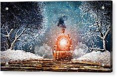 Traveling On Winters Night Acrylic Print by Bob Orsillo