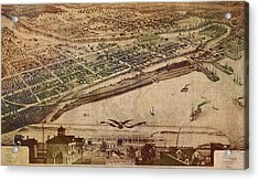 Traverse City Michigan Vintage 1879 Map Aerial View Of Grand Traverse Bay On Worn Parchment Acrylic Print by Design Turnpike