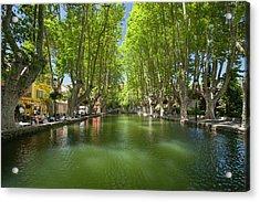 Tree-lined Pool, Les Bassin De L'etang Acrylic Print by Brian Jannsen