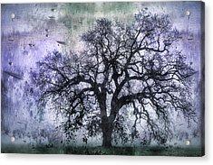 Tree Silhouette In Purple Acrylic Print by Carol Leigh