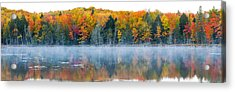 Trees In Autumn At Lake Hiawatha, Alger Acrylic Print by Panoramic Images