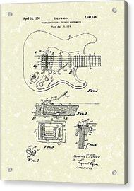 Tremolo Device 1956 Patent Art Acrylic Print by Prior Art Design