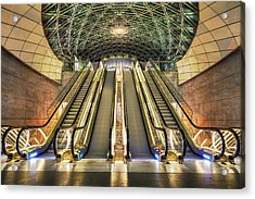 Triangeln Station Escalators Acrylic Print by EXparte SE