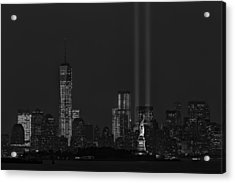 Tribute In Lights 2013 Bw Acrylic Print by Susan Candelario