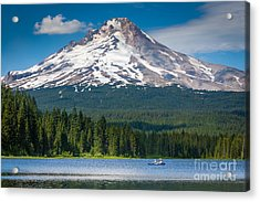 Trillium Lake Blue Canoe Acrylic Print by Inge Johnsson
