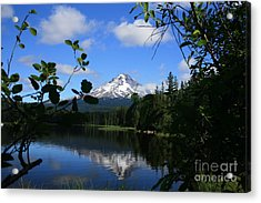 Trillium Lake With Mt. Hood  Acrylic Print by Ian Donley