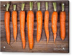Trimmed Carrots In A Row Acrylic Print by Jane Rix