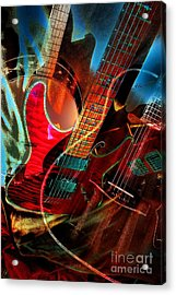 Triple Header Digital Banjo And Guitar Art By Steven Langston Acrylic Print by Steven Lebron Langston
