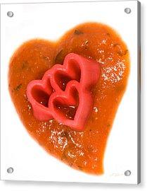 Tripple Red Pasta Hearts On Tomato Sauce Acrylic Print by Iris Richardson