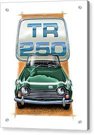 Triumph Tr-250 Sportscar In Dark Green Acrylic Print by David Kyte