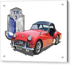 1950s Portraits Acrylic Print featuring the digital art Triumph Tr-3 by Dan Knowler